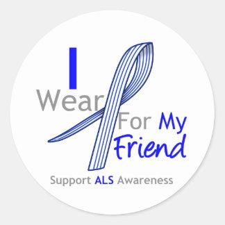 ALS Awareness I Wear ALS Ribbon For My Friend Classic Round Sticker