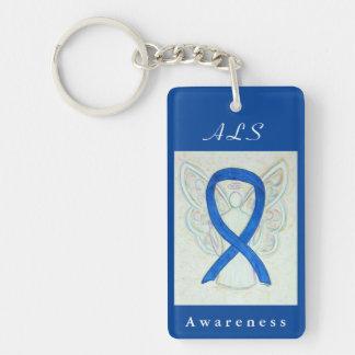 ALS Blue Awareness Ribbon Guardian Angel Key Chain