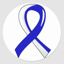 ALS Blue White Ribbon 3 Classic Round Sticker