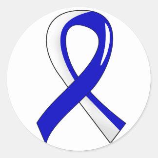 ALS Blue White Ribbon 3 Classic Round Sticker