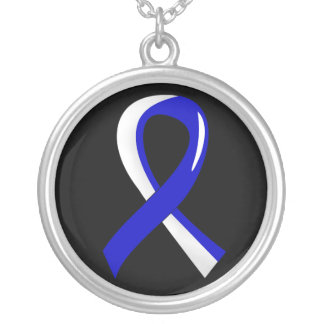 ALS Blue White Ribbon 3 Silver Plated Necklace