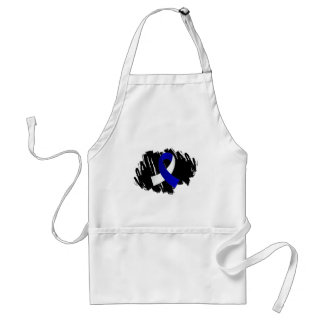 ALS Blue White Ribbon With Scribble Adult Apron