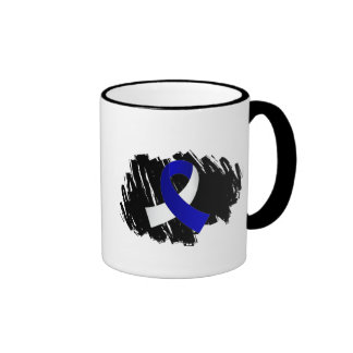 ALS Blue White Ribbon With Scribble Coffee Mug