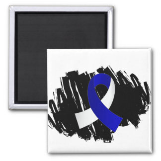 ALS Blue White Ribbon With Scribble Refrigerator Magnet