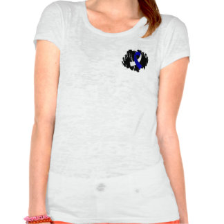 ALS Blue White Ribbon With Scribble T-shirts