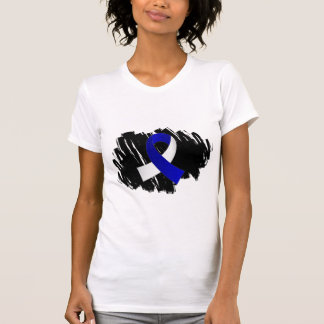 ALS Blue White Ribbon With Scribble Tanktops