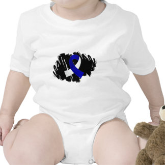 ALS Blue White Ribbon With Scribble Tee Shirt
