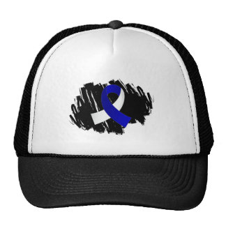ALS Blue White Ribbon With Scribble Trucker Hat