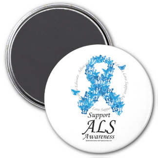 ALS Butterfly Ribbon 3 Inch Round Magnet