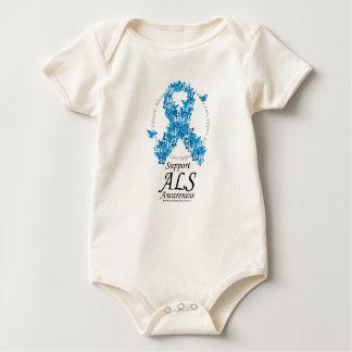 ALS Butterfly Ribbon Baby Bodysuit