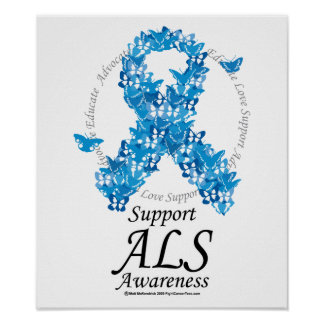 ALS Butterfly Ribbon Poster