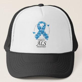 ALS Butterfly Ribbon Trucker Hat