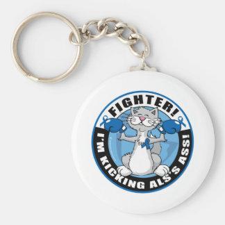 ALS Cat Fighter Basic Round Button Keychain