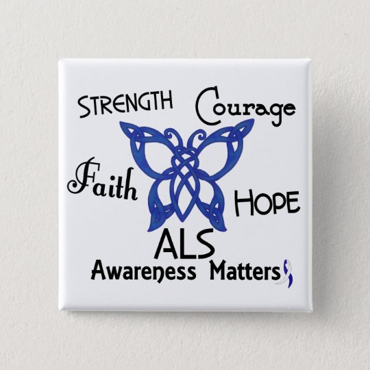 ALS Celtic Butterfly 3 Pinback Button