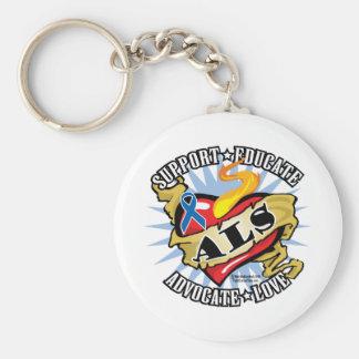 ALS Classic Heart Basic Round Button Keychain