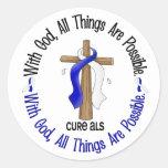 ALS con la cruz de dios Pegatina Redonda