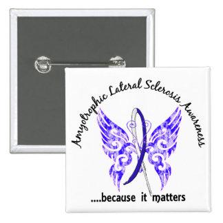ALS de la mariposa 6,1 del tatuaje del Grunge Pin Cuadrado