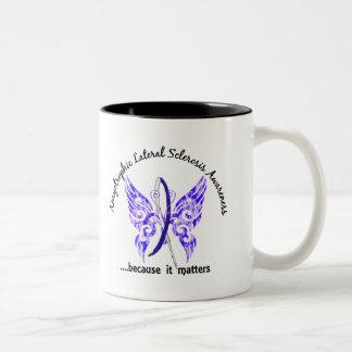 ALS de la mariposa 6,1 del tatuaje del Grunge Tazas De Café