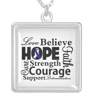 ALS Disease Collage of Hope Square Pendant Necklace