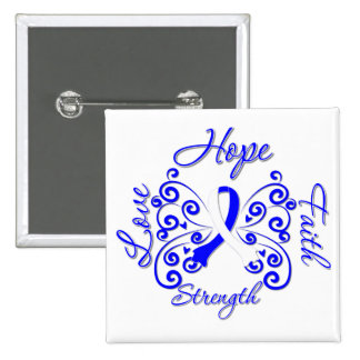ALS Disease Hope Motto Butterfly 2 Inch Square Button