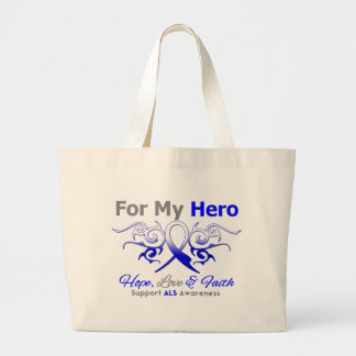 ALS Disease Tribal Ribbon Hero Jumbo Tote Bag