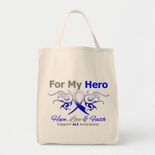 ALS Disease Tribal Ribbon Hero Grocery Tote Bag
