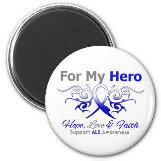 ALS Disease Tribal Ribbon Hero 2 Inch Round Magnet