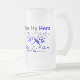 ALS Disease Tribal Ribbon Hero 16 Oz Frosted Glass Beer Mug