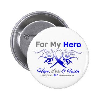ALS Disease Tribal Ribbon Hero Pinback Button