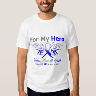 ALS Disease Tribal Ribbon Hero T Shirts