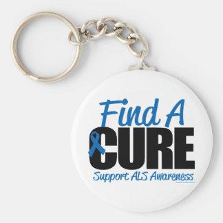 ALS Find A Cure Basic Round Button Keychain