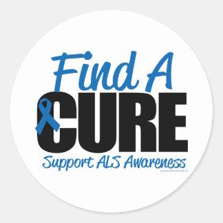 ALS Find A Cure Classic Round Sticker