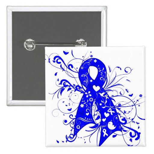 ALS Floral Swirls Ribbon Pinback Button