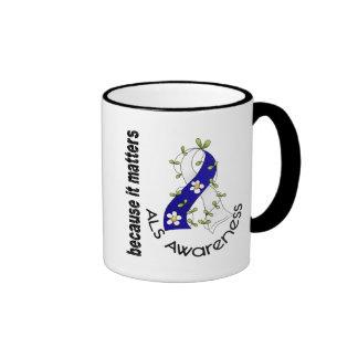 ALS Flower Ribbon 3 Ringer Coffee Mug