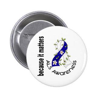 ALS Flower Ribbon 3 Pinback Button