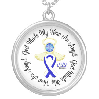 ALS God Made My Hero An Angel Round Pendant Necklace