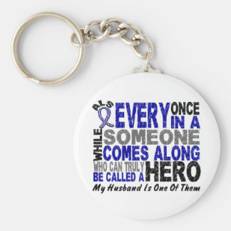ALS Hero Comes Along 1 Husband Basic Round Button Keychain