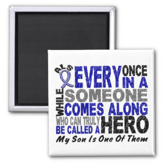 ALS Hero Comes Along 1 Son 2 Inch Square Magnet