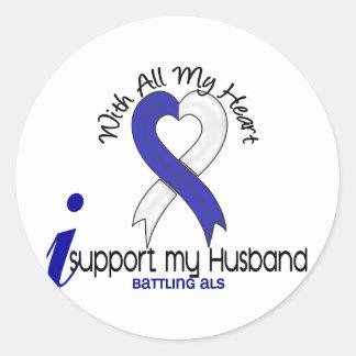 ALS I Support My Husband Classic Round Sticker