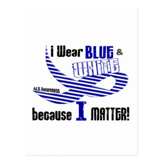 ALS I Wear Blue And White For ME 33 Postcard