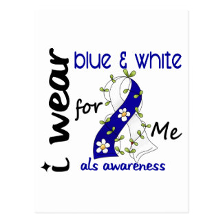 ALS I Wear Blue and White For Me 43 Postcard