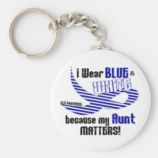ALS I Wear Blue And White For My Aunt 33 Keychain