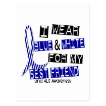 ALS I Wear Blue And White For My Best Friend 37 Postcard