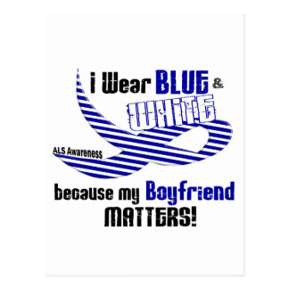 ALS I Wear Blue And White For My Boyfriend 33 Postcard