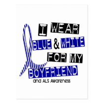 ALS I Wear Blue And White For My Boyfriend 37 Postcard