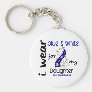 ALS I Wear Blue and White For My Daughter 43 Keychain