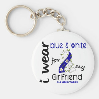 ALS I Wear Blue and White For My Girlfriend 43 Keychain