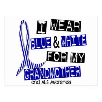 ALS I Wear Blue And White For My Grandmother 37 Postcard