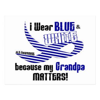ALS I Wear Blue And White For My Grandpa 33 Postcard
