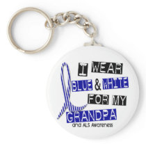 ALS I Wear Blue And White For My Grandpa 37 Keychain